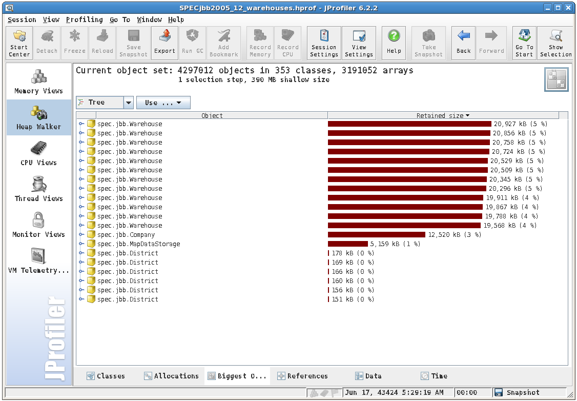 Tools: JProfiler Biggest