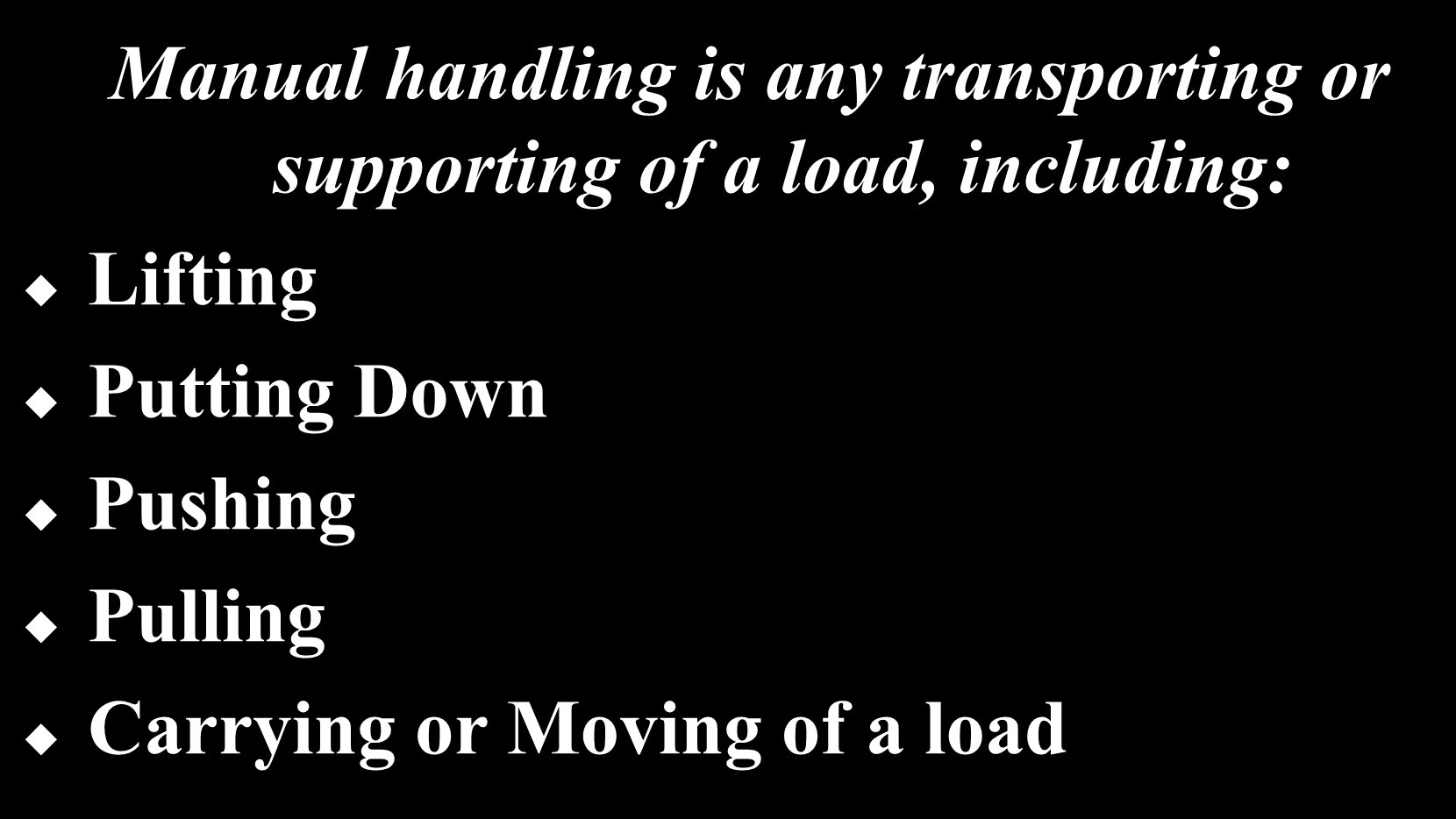 What is meant by MANUAL HANDLING?