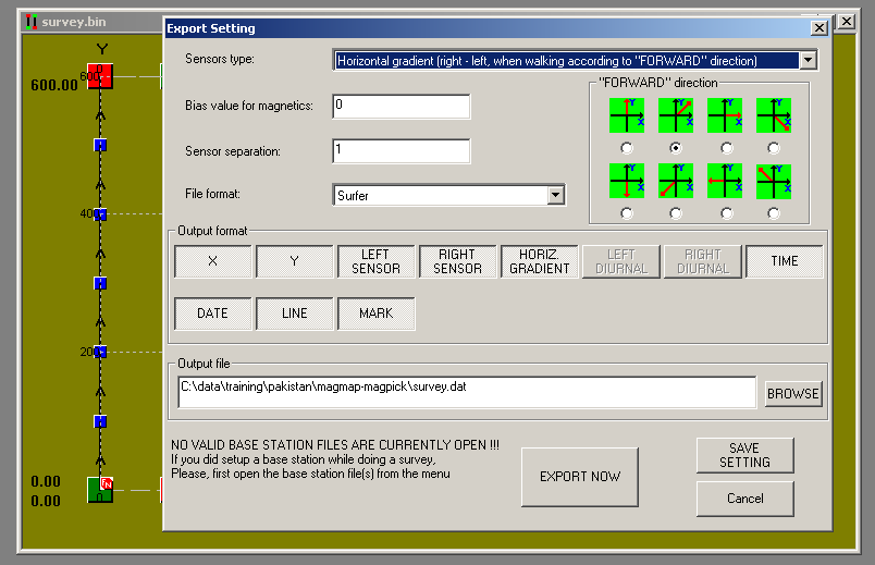 The Export dialog box is shown above. Note the blinking text in the bottom left corner which states: NO VALID BASE STATION FILES ARE CURRENTLY OPEN!