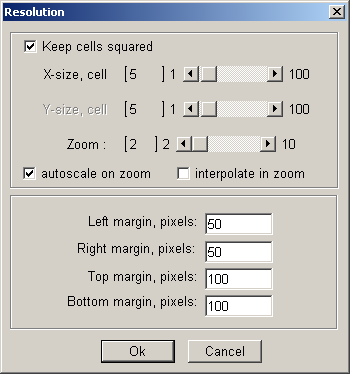 You can modify the size of the map view using Options / Size menu (call this menu from the grid window): Click Keep cells squared then slide the X Cell size to