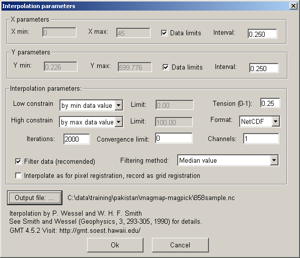 The Grid Interpolation dialog is displayed: The most important parameters are Interval and Output file. The interval should be selected based on measured data spacing.