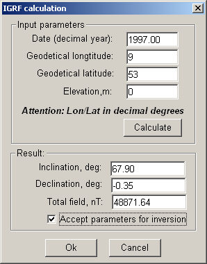 The IGRF dialog is displayed: Here you need to enter year when data was collected (1997 in this example) and the approximate coordinates (9E, 53N, Germany) and press Calculate to update I and D.