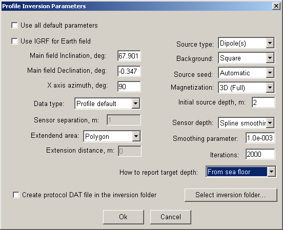 The inversion dialog will be displayed: Make sure your dialog parameters match the screen shot above. Note that values of inclination and declination are copied from the IGRF dialog box.