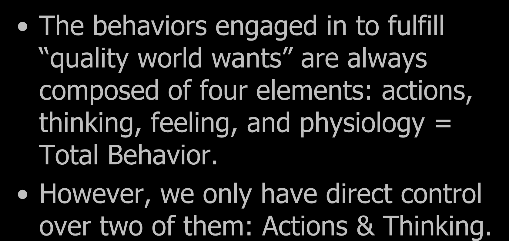 Choice Theory The behaviors engaged in to fulfill quality world wants are always composed of four elements: actions,