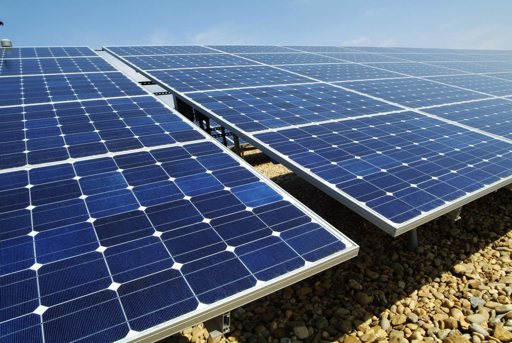Solar Solar power is defined as the converting of light energy from the sun into electric energy by either directly using photovoltaic cells, or indirectly via concentrated solar power