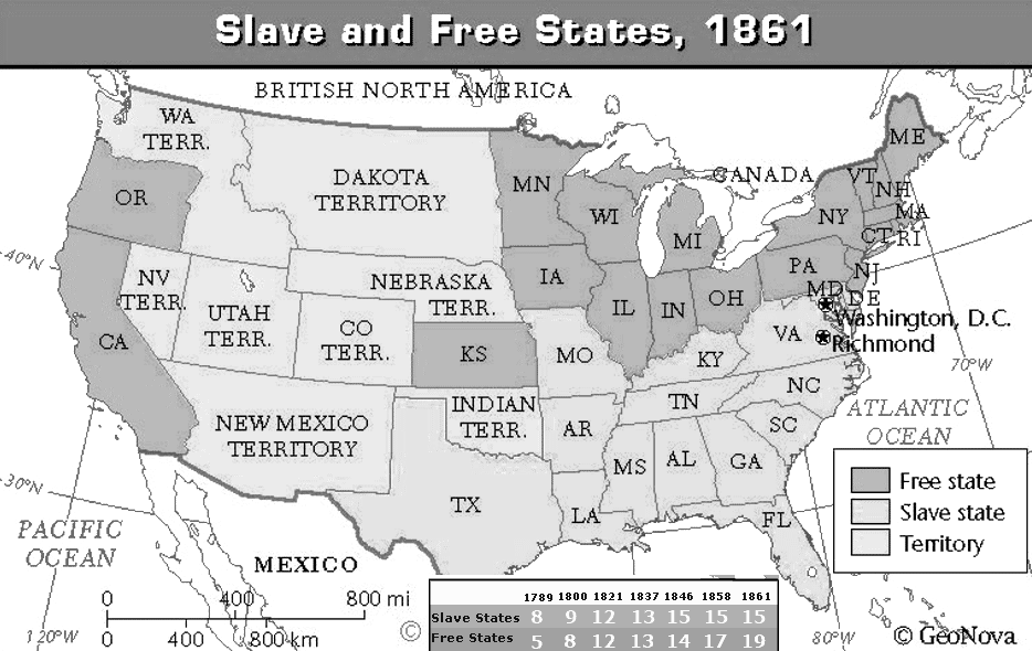 doent 2 map of slave and non slave states in 1861 1 how