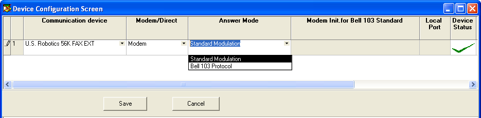 4) Assign the Modem comm port to the comm client. This is only performed once during installation of the comm client or when changing comm ports.