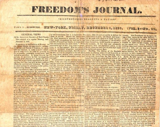 African American Abolitionists Continued Helped organize and direct the American Anti- Slavery Society Samuel Cornish and John Russwurm started the first African American newspaper, Freedom s Journal