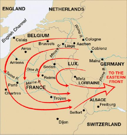 Assassination Brings War The Schlieffen Plan called for German troops to march through Belgium in order to flank the French and close off the coastal ports to any possible British reinforcements.