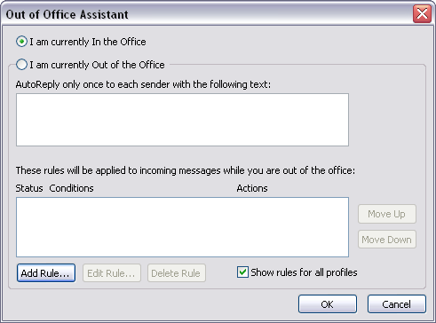 Using the Out of Office Assistant If you are going to be away from the office for period of time and will not have access to your email, you might want to turn on the Out of Office Assistant.