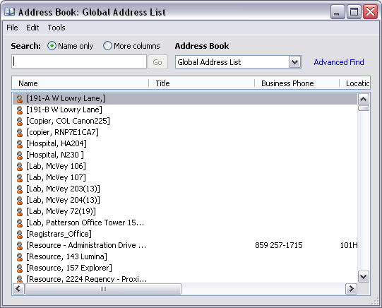 Using Address Books to Address Emails The Outlook Address book button on the Standard Toolbar provides access to the Global Address List and your Contacts folder.