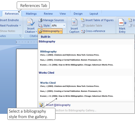 Figure 2-13 The Citations & Bibliography Group Tips and Tricks The bibliography building blocks include a formatted header for your bibliography.