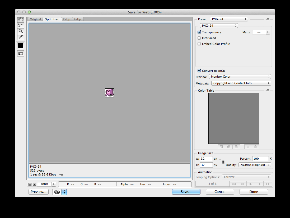 Exporting animations Use the Save for Web option to