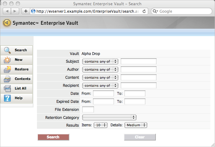 14 Using Symantec Enterprise Vault Searching for archived items Searching for archived items If you have an Enterprise Vault shortcut to an archived item, you can easily use it to view or restore the
