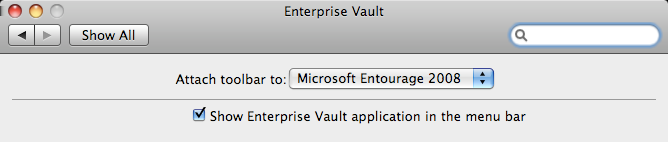 Using Symantec Enterprise Vault Using an Entourage rule to manage your Enterprise Vault shortcuts 15 To customize the appearance of the Enterprise Vault toolbar 1 Click the settings icon at the top
