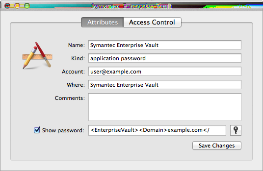 Introducing Symantec Enterprise Vault How grouping similar folders in Outlook for Mac 2011 affects Enterprise Vault Client behavior 11 4 Click Show password, and then enter the keychain password if