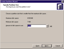 At the Welcome to the Create Partition Wizard Click Next. Select your Partition Type and click Next. NOTE: Primary partition is the default.