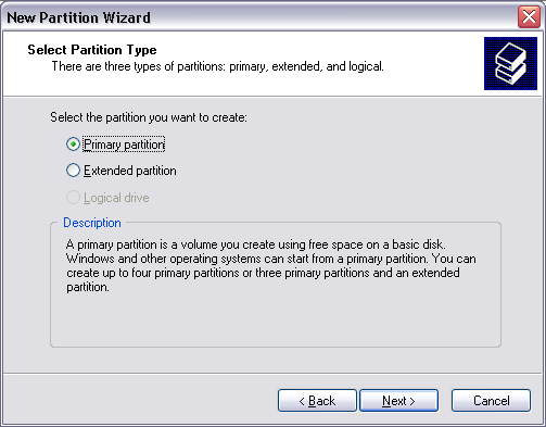 "6. Select ""Primary partition"" and click on ""Next"". (Windows XP) 7. Now you can adjust the size of your partition."