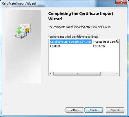 6. When prompted with the Select Certificates Store screen, click on Trusted Root Certification Authorities