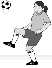 13. A soccer goalie is practicing by punting a ball straight up into the air and then catching it again when it falls back down.