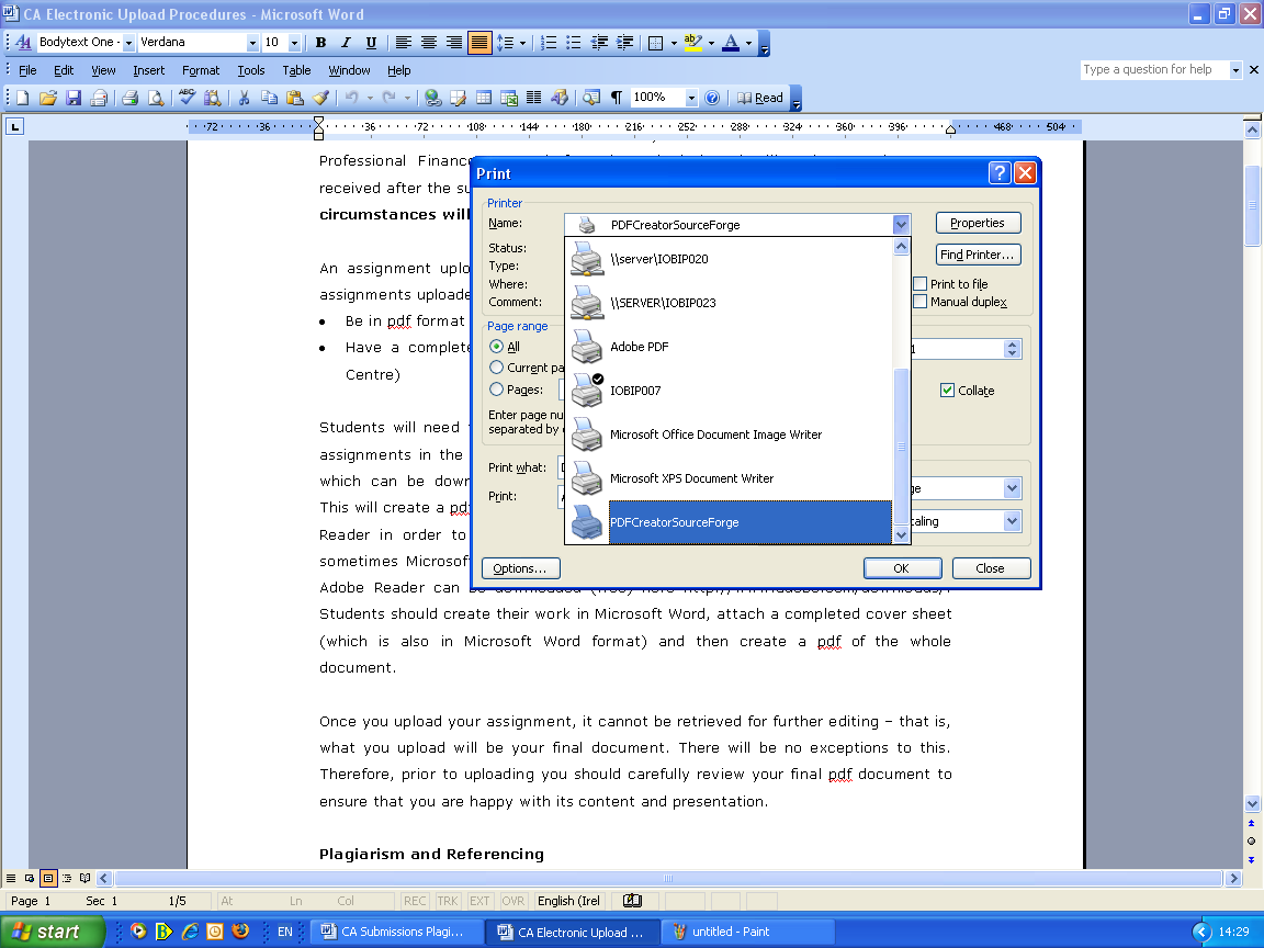 Using the PDF Writer 4. Once the PDFCreator is set up on your system, when you want to use it, open the Word file of which you want to create a pdf version. Then in the File menu, click on Print 5.