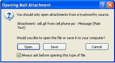 Opening an Attachment Whenever you see a paper clip icon ( ) next to a message, it is an attachment attached to the message. WARNING: Never open an attachment unless you know what it is.