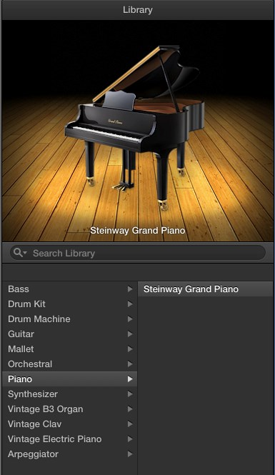 Track Types If you added a SOFTWARE INSTRUMENT track, it will default to a keyboard sound, which you can easily change. GarageBand has a number of built -in sounds to work with.