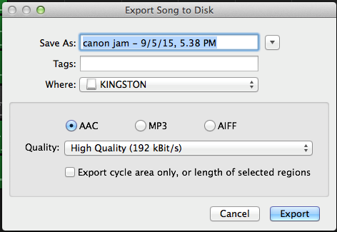 There are a number of options available, the easiest of which is Export Song to Disk. This allows you to save the audio file in several formats, including MP3.