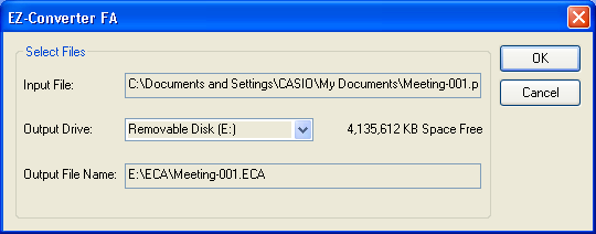 6. Select the PowerPoint file you want to convert from and then click the [Open] button. This will display a dialog box like the one shown below for specifying the ECA file settings. 7.