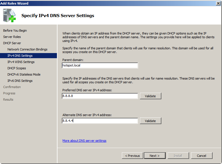 "5. You can set IP addresses of the WINS servers on the ""IPv4 WINS settings"" screen if needed. 6."