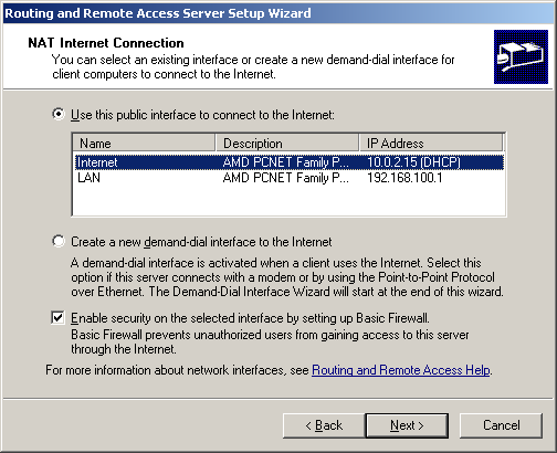 5. On the Completing The Routing And Remote Access Server Setup Wizard page, click Finish. The server is now ready to forward packets from the Hotspot (internal) network to the Internet. 1.