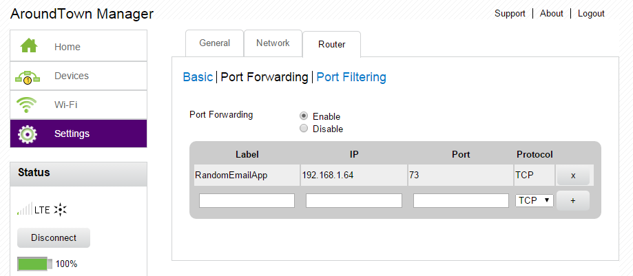 Your changes are saved. Remove a Port Forwarding Entry If you want to stop forwarding any ports, you can remove them from the port forwarding list.