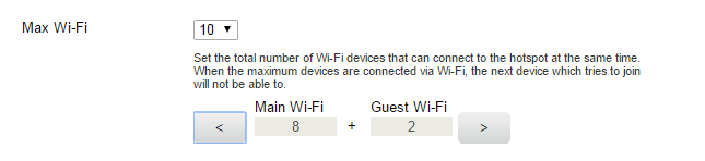 Set the Maximum Number of Connected Devices You can connect up to 10 WiFi devices to the hotspot. These connections are shared between the hotspot s main and guest WiFi networks.