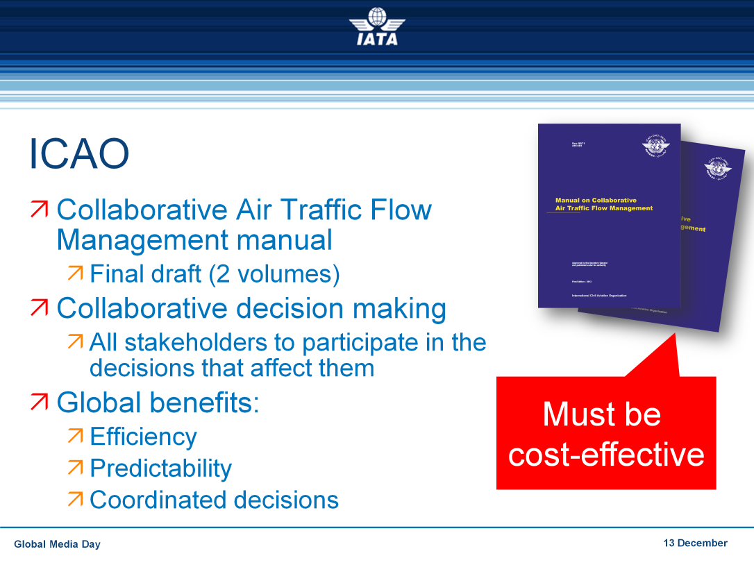 We have the guidance material to do this: the International Civil Aviation Organization (ICAO) Collaborative air traffic flow management manual.