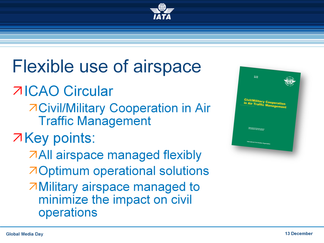 There are guiding principles and strategies ICAO Circular - Civil/Military Cooperation in Air Traffic Management Key points: