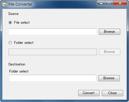 File Converter Using File Converter File Converter converts selected files into an image format that can be read by the SD card in the device. The source file formats are BMP and JPEG.