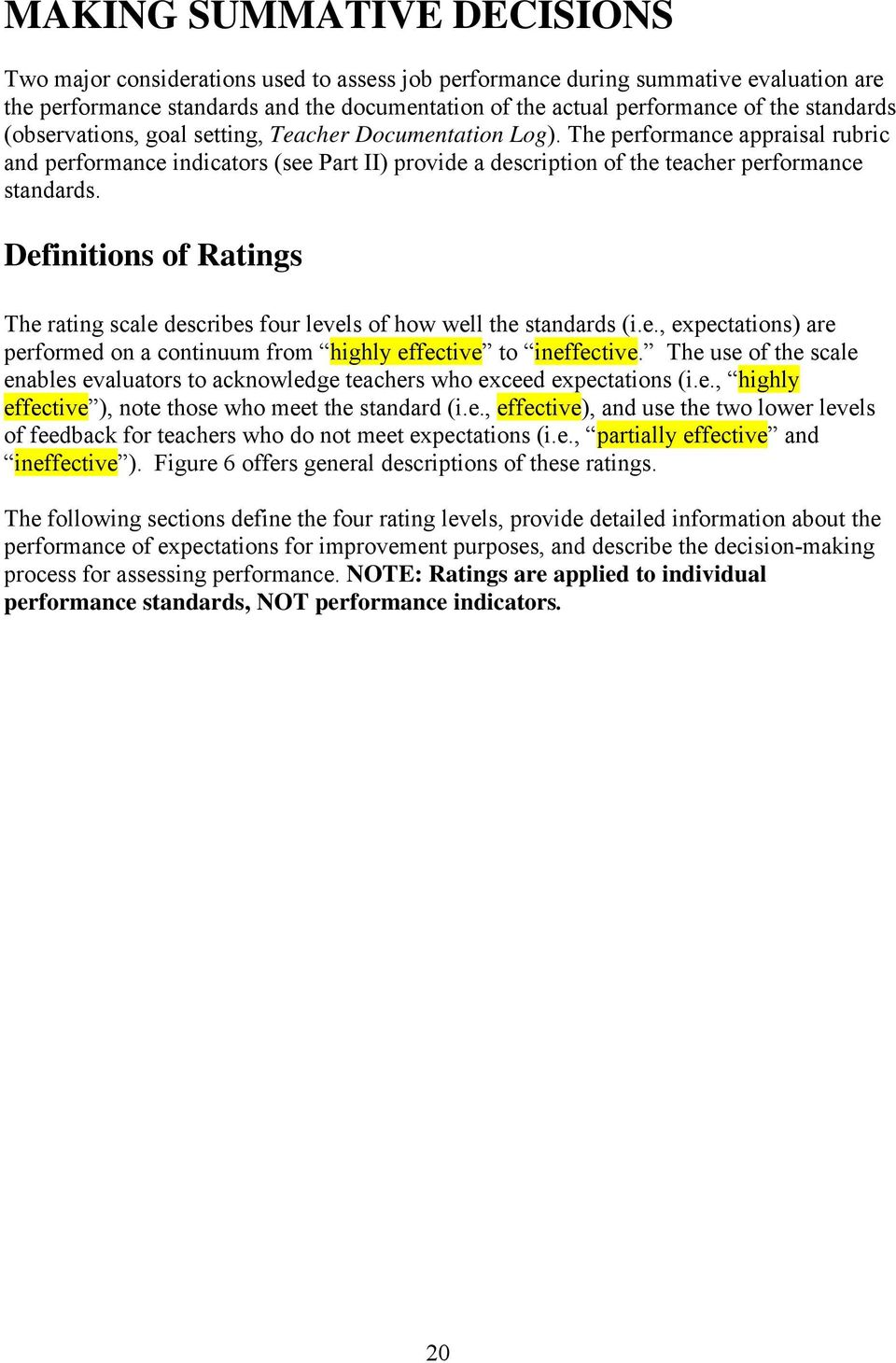 Definitions of Ratings The rating scale describes four levels of how well the standards (i.e., expectations) are performed on a continuum from highly effective to ineffective.