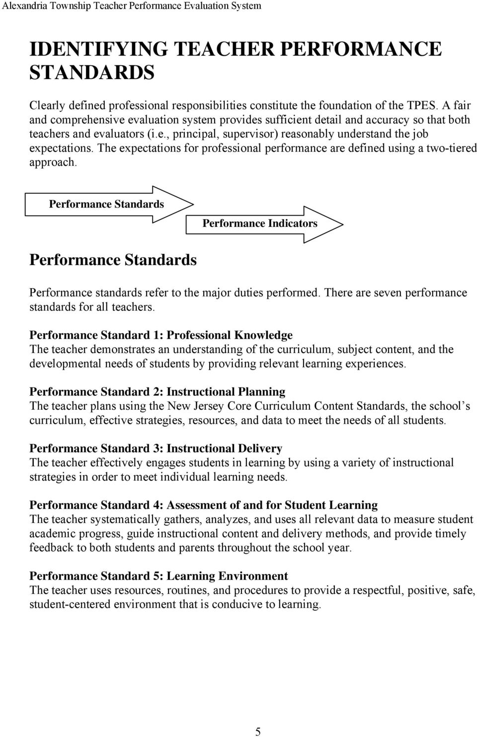 The expectations for professional performance are defined using a two-tiered approach.