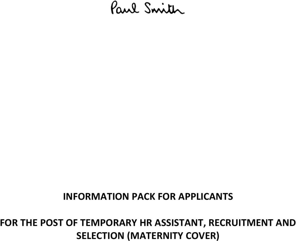 TEMPORARY HR ASSISTANT,