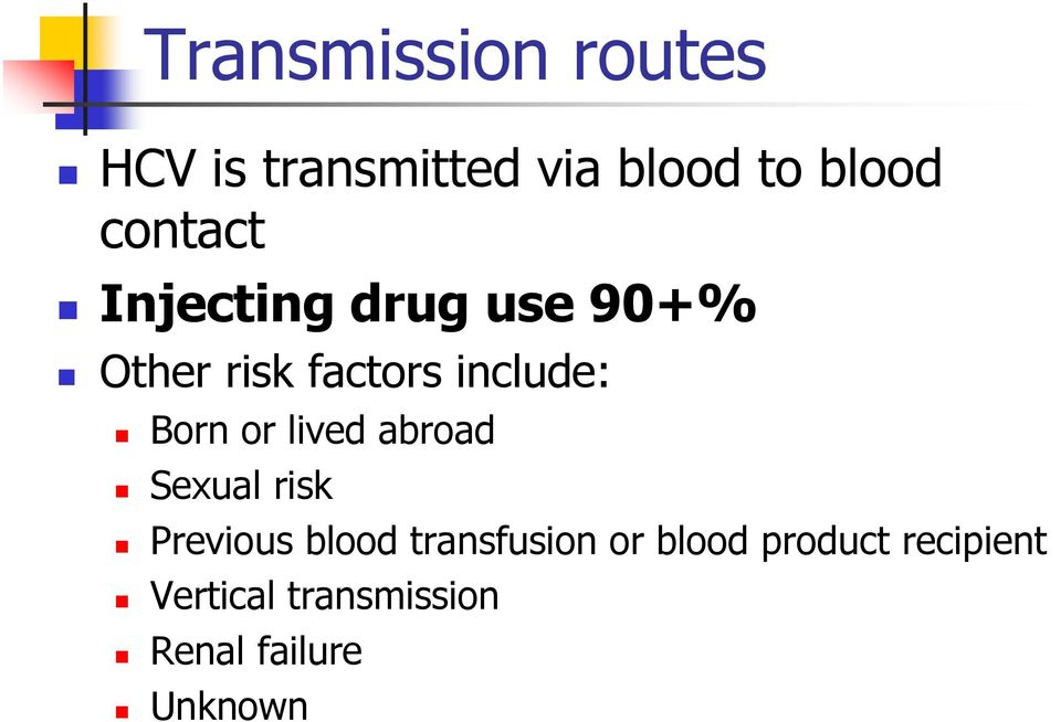 Born or lived abroad Sexual risk Previous blood transfusion