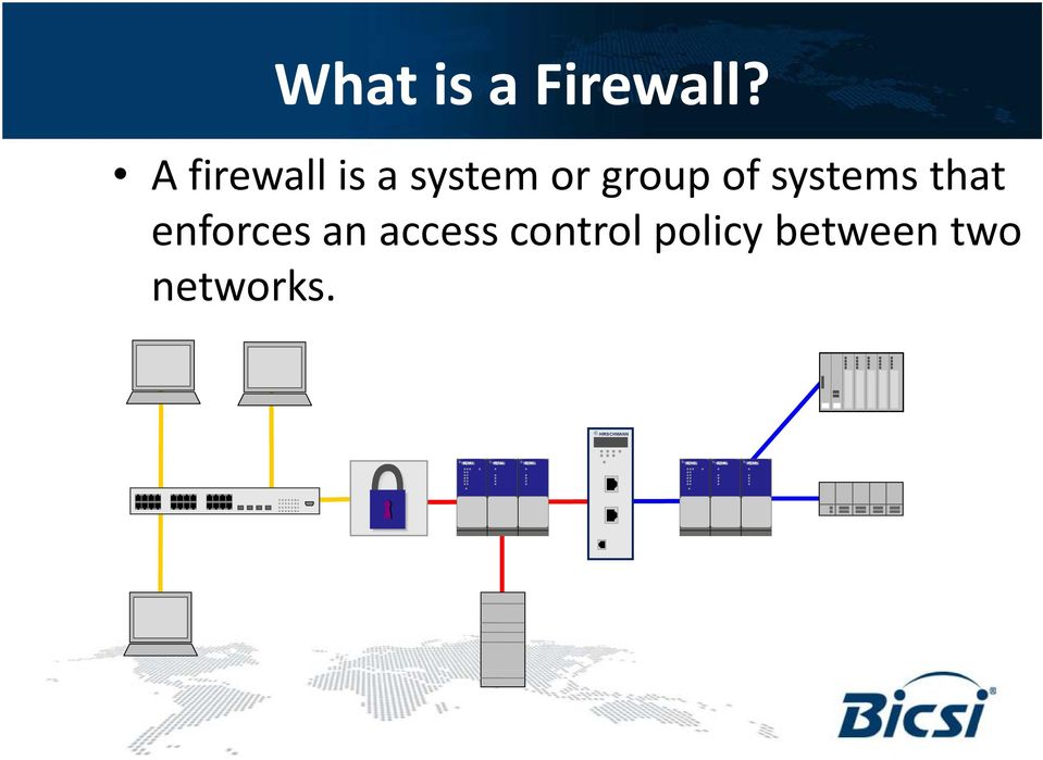 A firewall is a system or group of systems that
