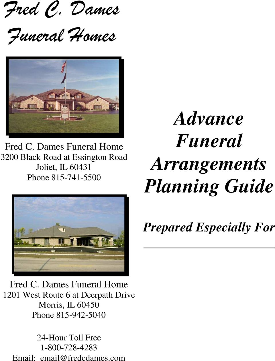 815-741-5500 Advance Funeral Arrangements Planning Guide Prepared Especially For Fred C.