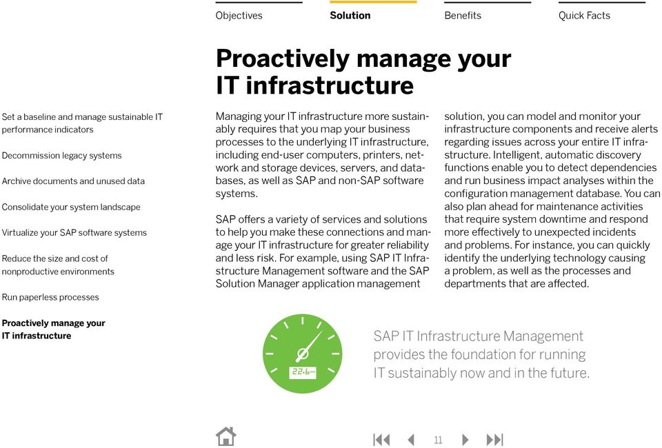 For example, using SAP IT Infrastructure Management software and the SAP Manager application management solution, you can model and monitor your infrastructure components and receive alerts regarding