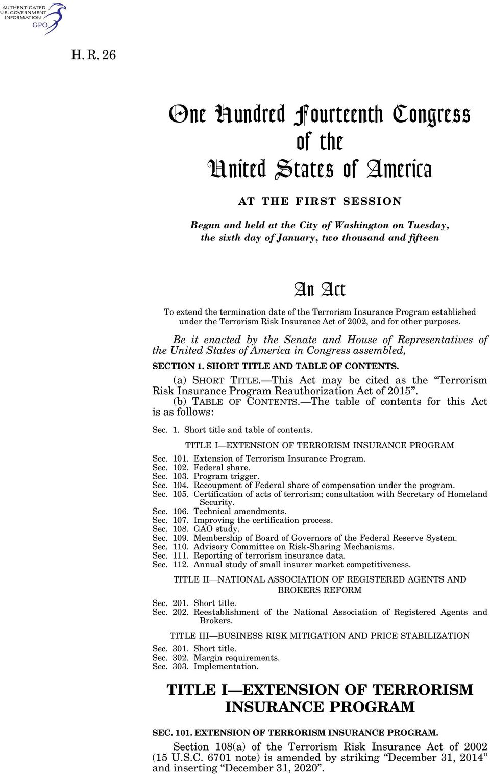 Be it enacted by the Senate and House of Representatives of the United States of America in Congress assembled, SECTION 1. SHORT TITLE AND TABLE OF CONTENTS. (a) SHORT TITLE.