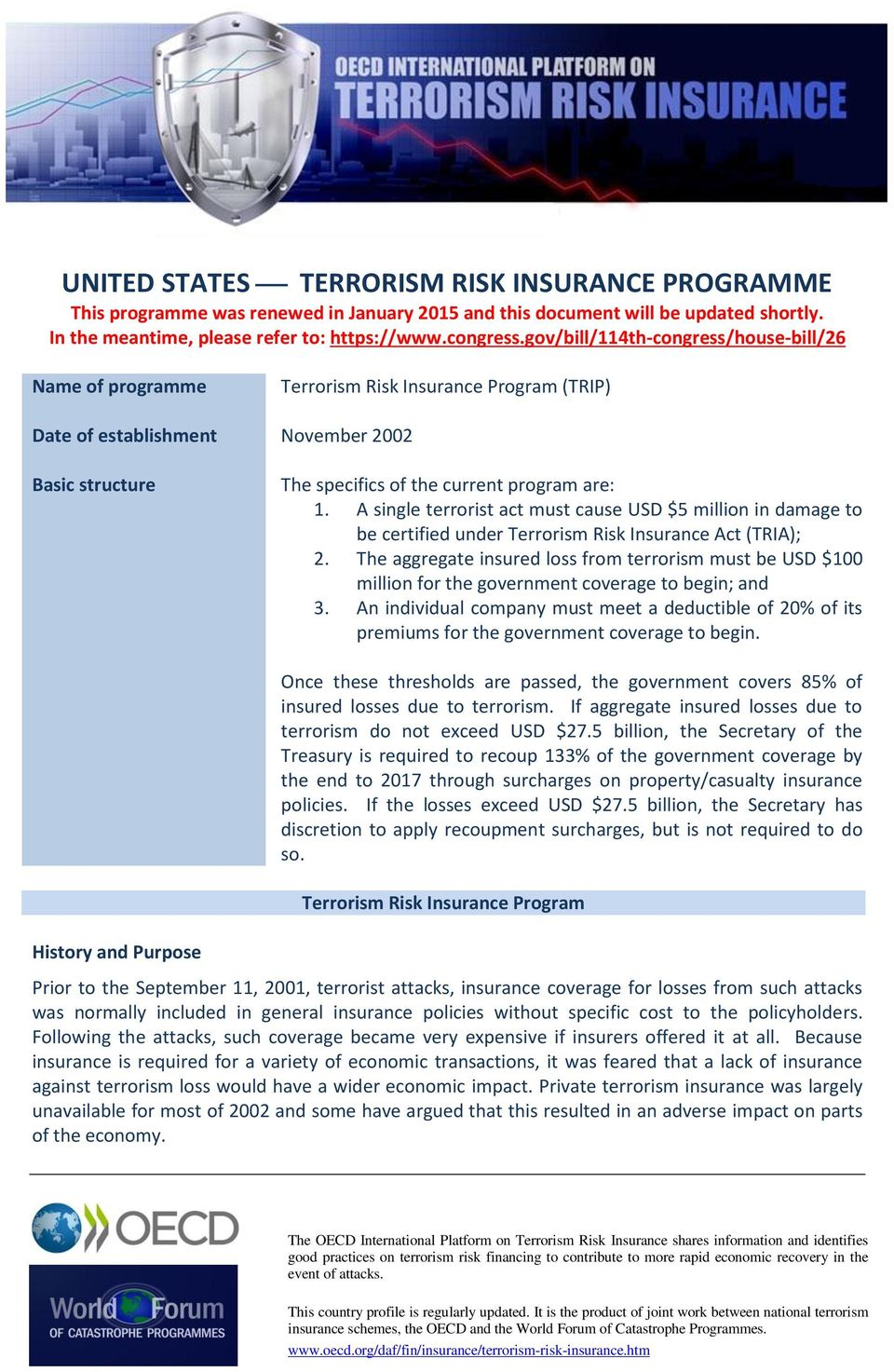 A single terrorist act must cause USD $5 million in damage to be certified under Terrorism Risk Insurance Act (TRIA); 2.