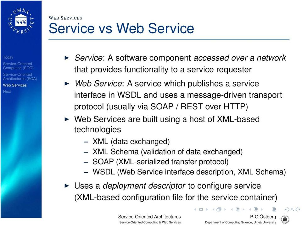 of XML-based technologies XML (data exchanged) XML Schema (validation of data exchanged) SOAP (XML-serialized transfer protocol) WSDL (Web Service interface