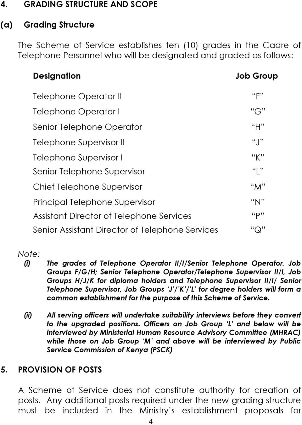 Supervisor Assistant Director of Telephone Services Senior Assistant Director of Telephone Services Job Group F G H J K L M N P Q Note: The grades of Telephone Operator II/I/Senior Telephone