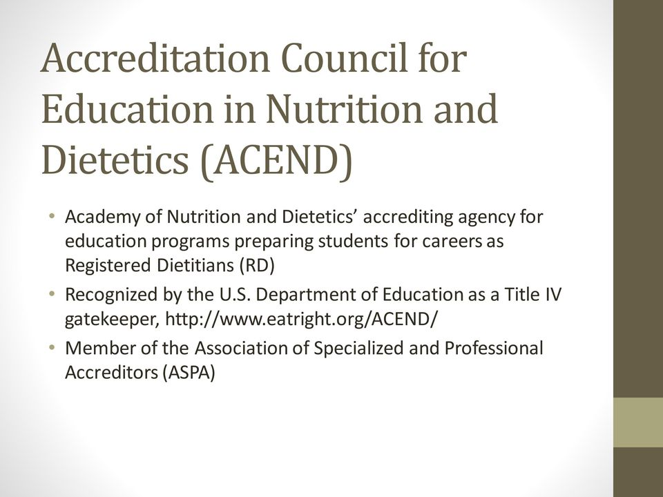 Dietitians (RD) Recognized by the U.S.