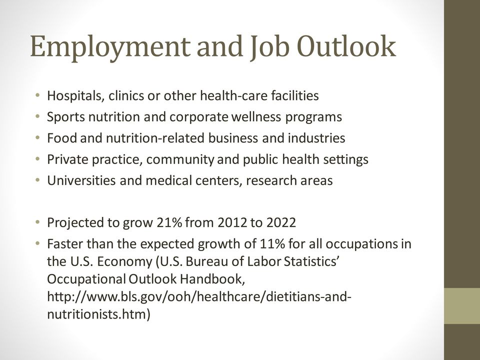 centers, research areas Projected to grow 21% from 2012 to 2022 Faster than the expected growth of 11% for all occupations in the U.