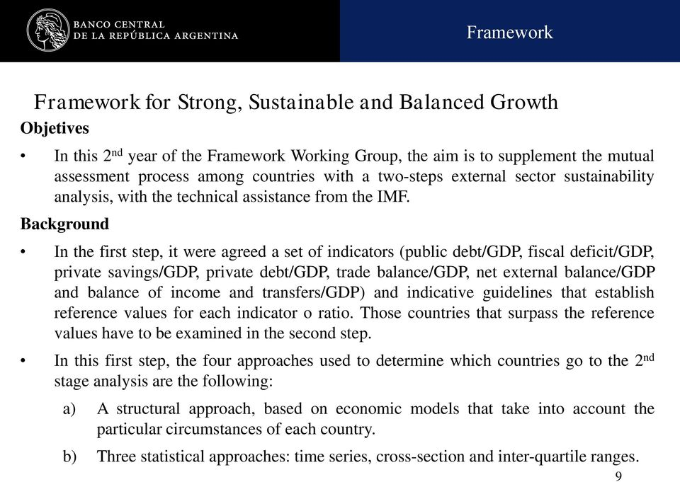 Background In the first step, it were agreed a set of indicators (public debt/gdp, fiscal deficit/gdp, private savings/gdp, private debt/gdp, trade balance/gdp, net external balance/gdp and balance